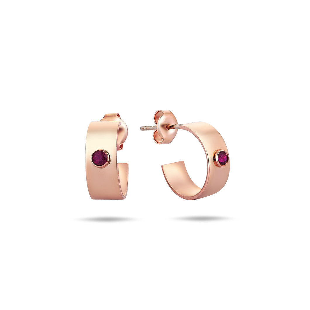 Rose Gold Mini Earrings- Hoops- With Ruby