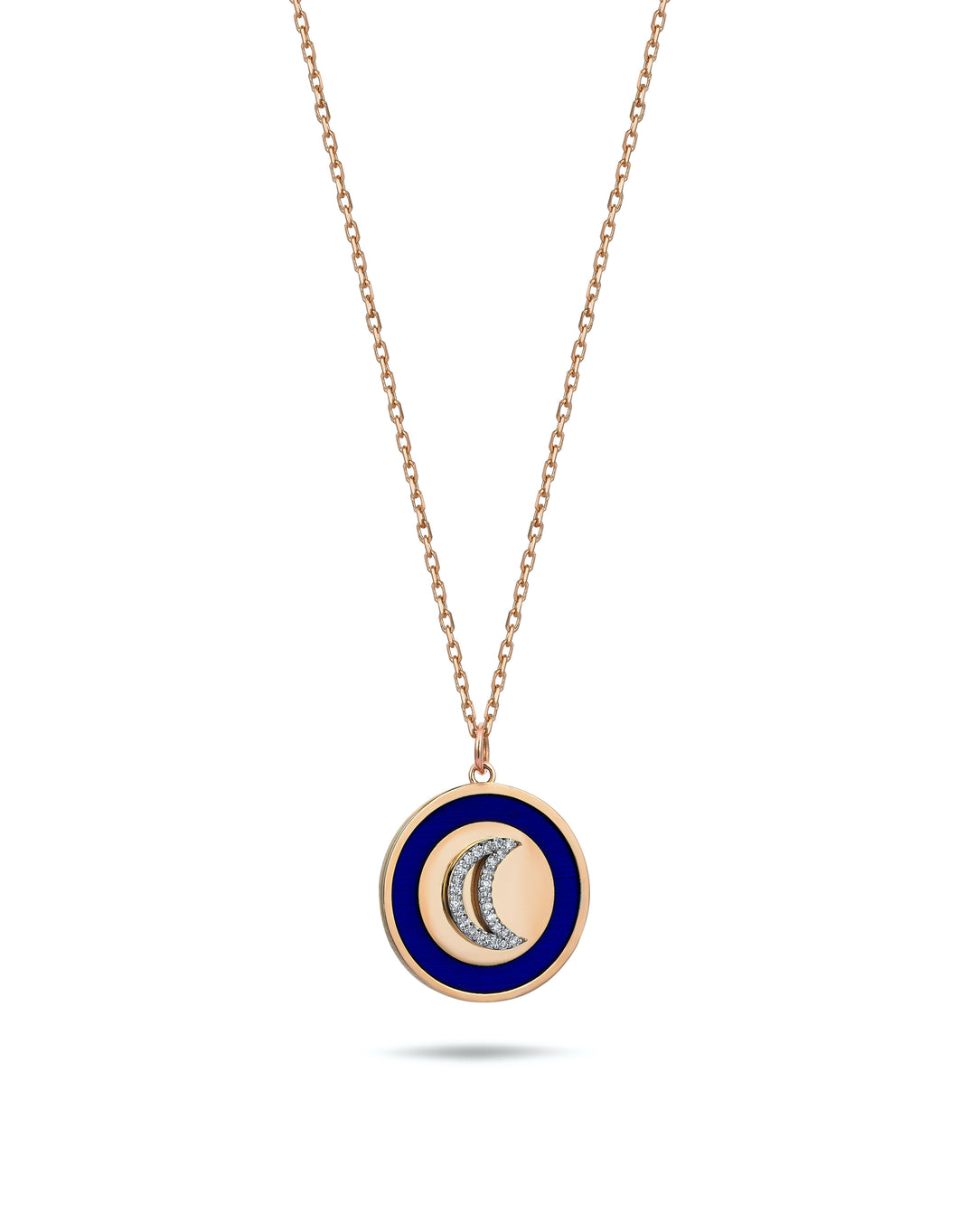 Rose Gold Moon Necklace With Diamonds