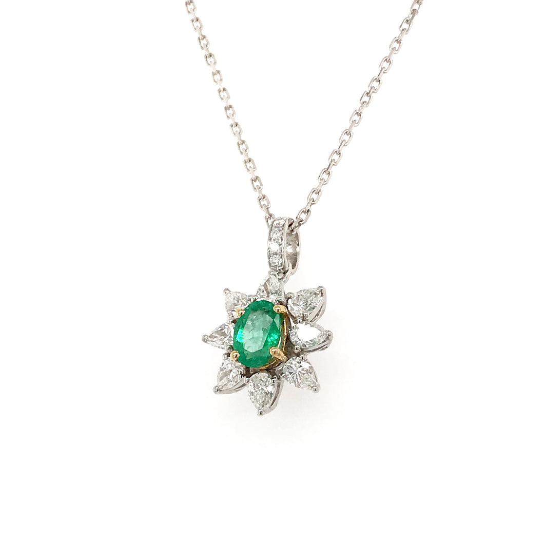 Everyday Sparkle White Gold with Emerald & Diamonds Necklace - Pendant