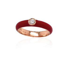 18K Gold Red Candy Ring With Diamond