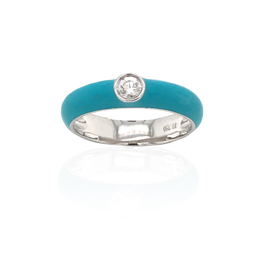 18K Gold Turquoise Candy Ring With Diamond