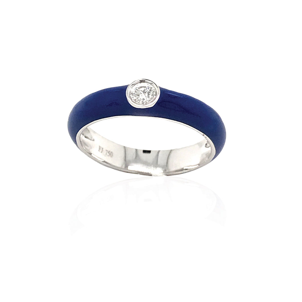 18K Gold Royal Blue Candy Ring With Diamond