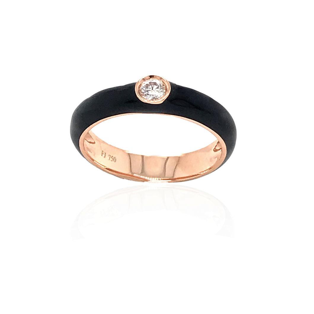 18K Gold Black Candy Ring With Diamond
