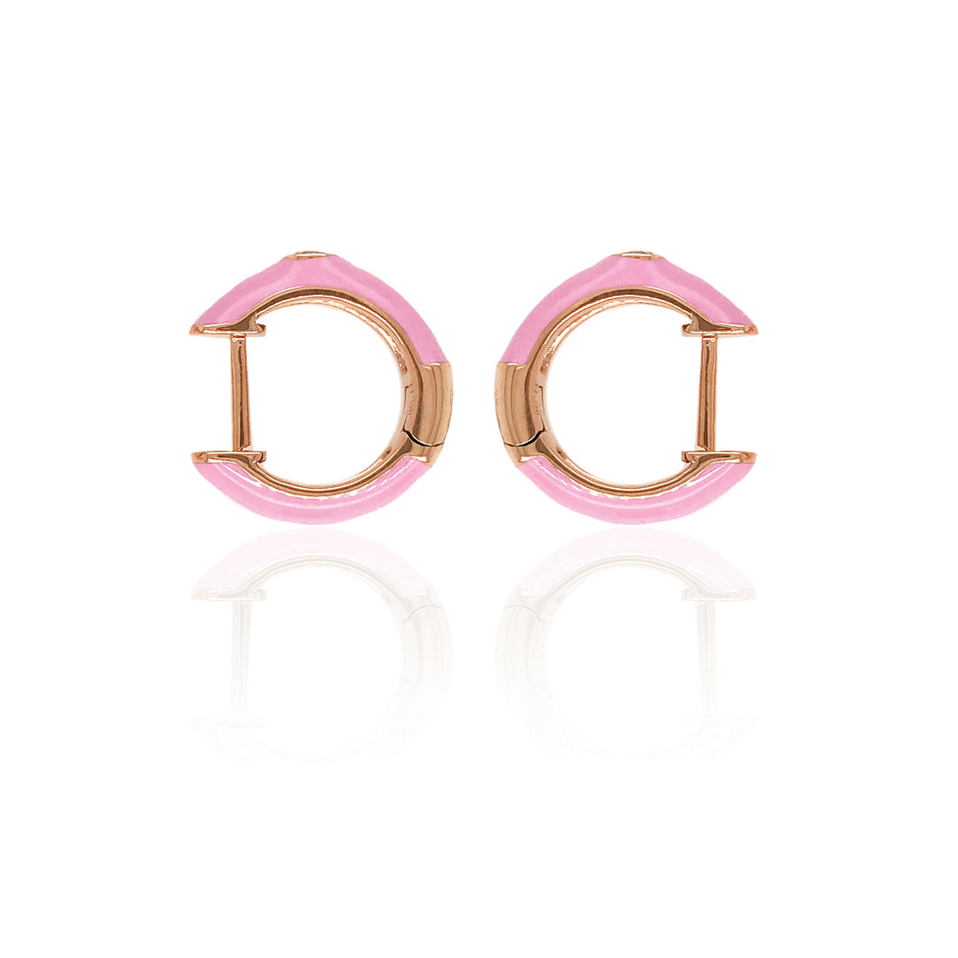 18K Gold Pink Candy Earrings With Diamond