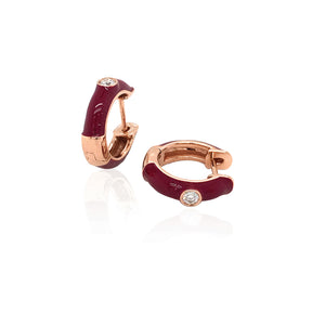 18K Gold Red Candy Earrings With Diamond