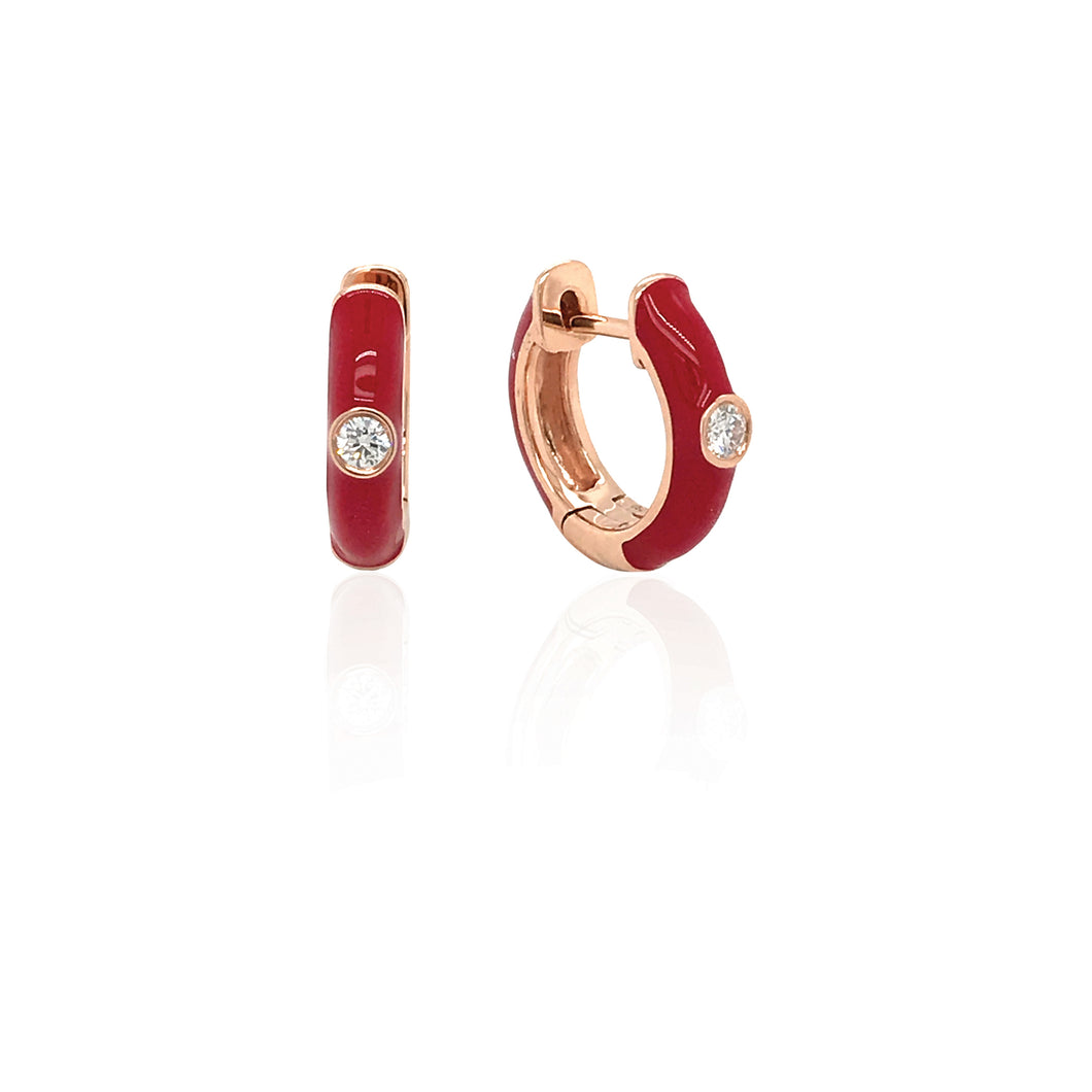 18K Gold Light Red Candy Earrings With Diamond