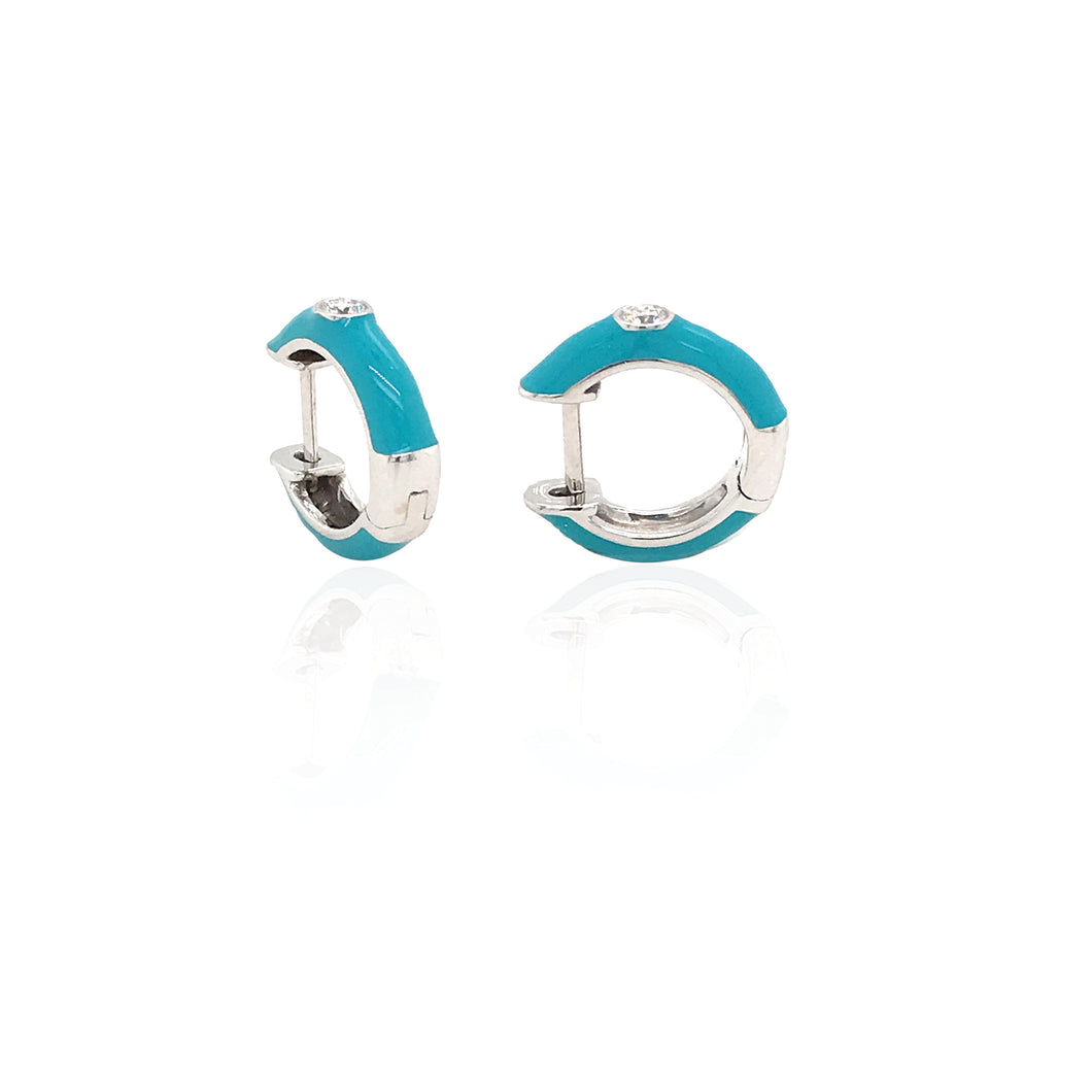 18K Gold Turquoise Candy Earrings With Diamond