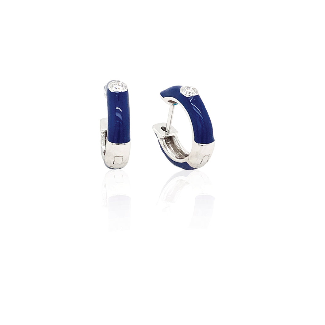 18K Gold Royal Blue Candy Earrings With Diamond