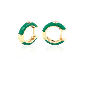 18K Gold Green Candy Earrings With Diamond