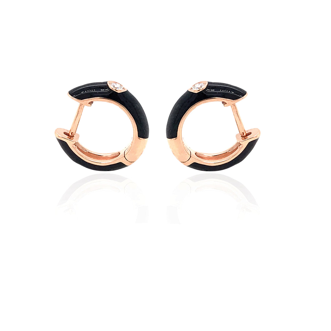 18K Gold Black Candy Earrings With Diamond
