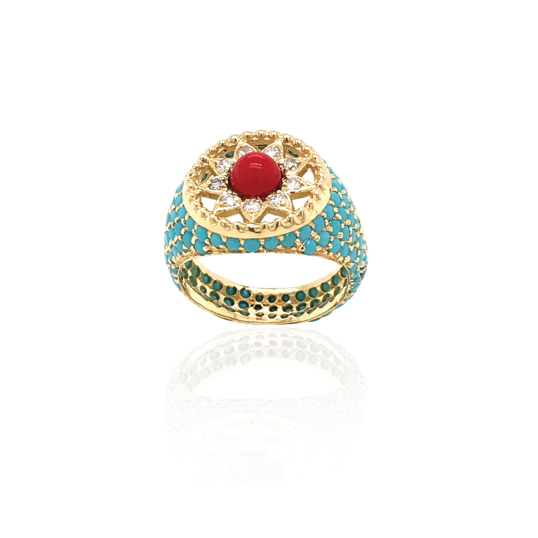Cosmic Love Coral Ring