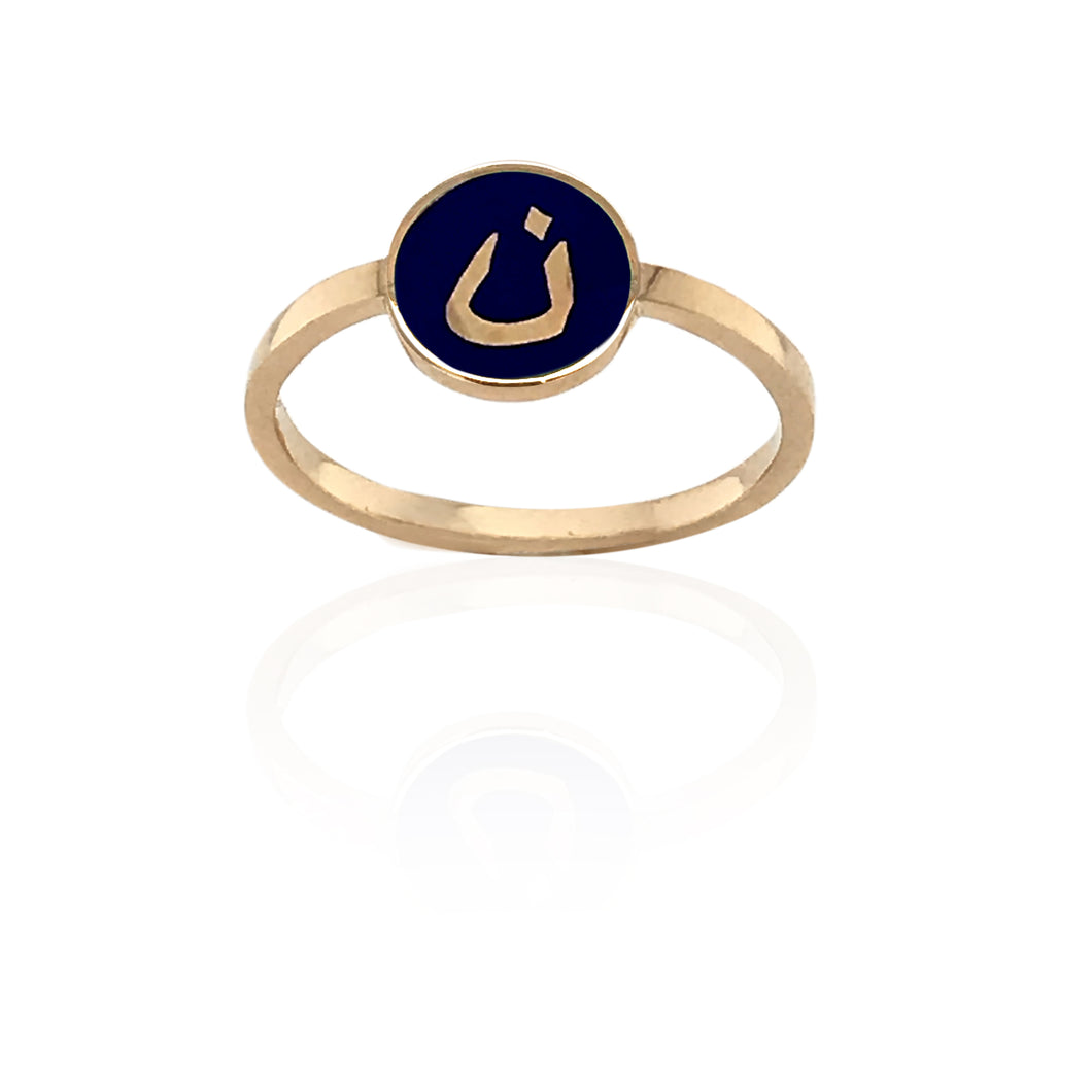 MINA — ROSE GOLD ENAMEL ROUND LETTER RING