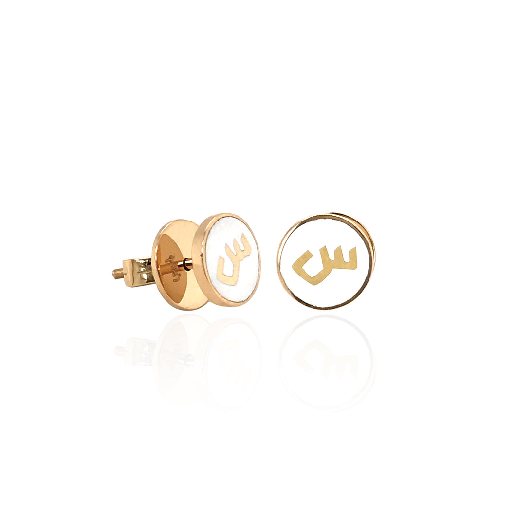 MINA — ROUND ENAMEL LETTER EARRINGS.