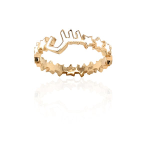 MINA — ROSE GOLD ENAMEL LETTER RING.