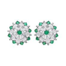Load image into Gallery viewer, Modern Flower Diamond & Emerald Ear Studs