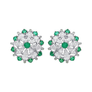 Modern Flower Diamond & Emerald Ear Studs