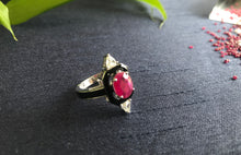 Load image into Gallery viewer, Ruby & Black Enamel Ring