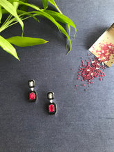 Load image into Gallery viewer, Ruby & Diamond Earrings with Black Enamel