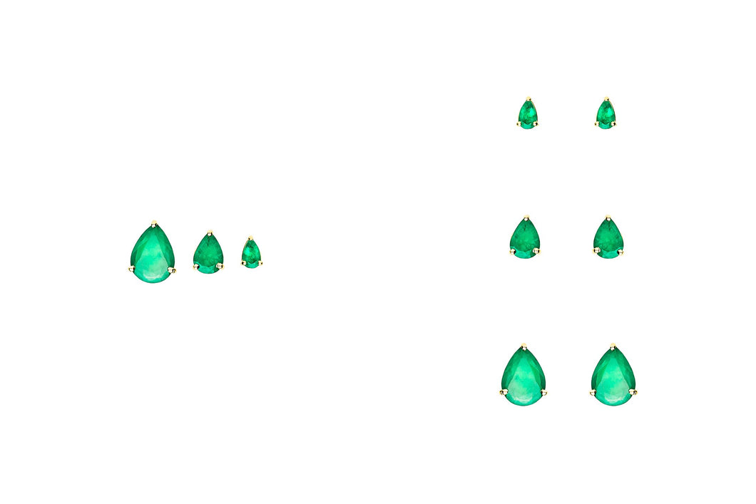 LARGE PEAR SHAPED EMERALD STUDS