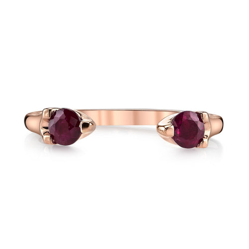 18k rose gold ruby split ring.  Great for stacking.