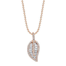 Load image into Gallery viewer, 18K rose gold diamond pave and baguette classic leaf necklace.