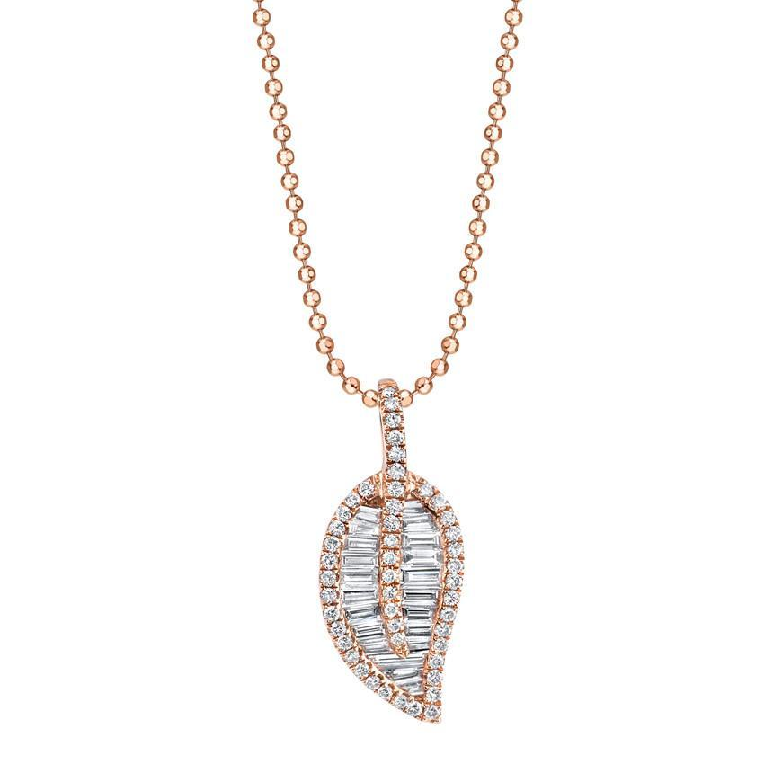 18K rose gold diamond pave and baguette classic leaf necklace.