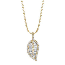 Load image into Gallery viewer, 18K Yellow gold diamond pave and baguette classic leaf necklace.