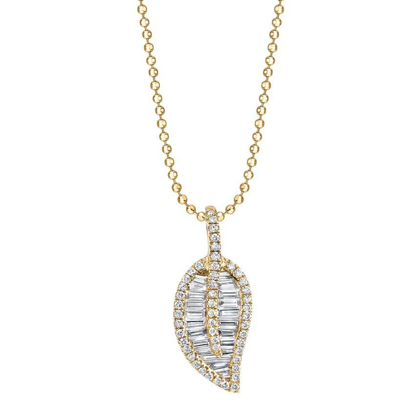 18K Yellow gold diamond pave and baguette classic leaf necklace.
