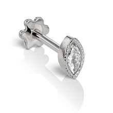 Load image into Gallery viewer, 18K White Gold Scalloped Marquise Diamond Threaded Ear Stud