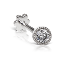 Load image into Gallery viewer, 18k White Gold Scalloped Set Diamond Threaded Stud