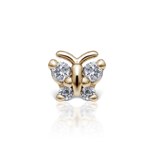 Load image into Gallery viewer, 18k Rose Gold Diamond Butterfly Threaded Stud