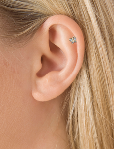 18k Rose Gold Diamond Butterfly Threaded Stud