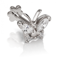 Load image into Gallery viewer, 18k White Gold Diamond Marquise Butterfly Threaded Stud