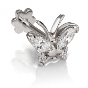 18k White Gold Diamond Marquise Butterfly Threaded Stud