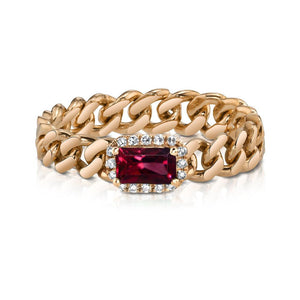 Ruby Rectangle Baby Link Ring