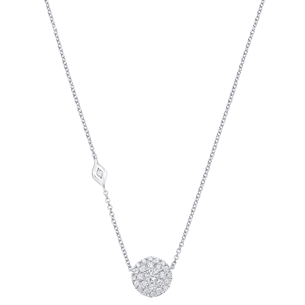18K White Gold Illusion Round Necklace