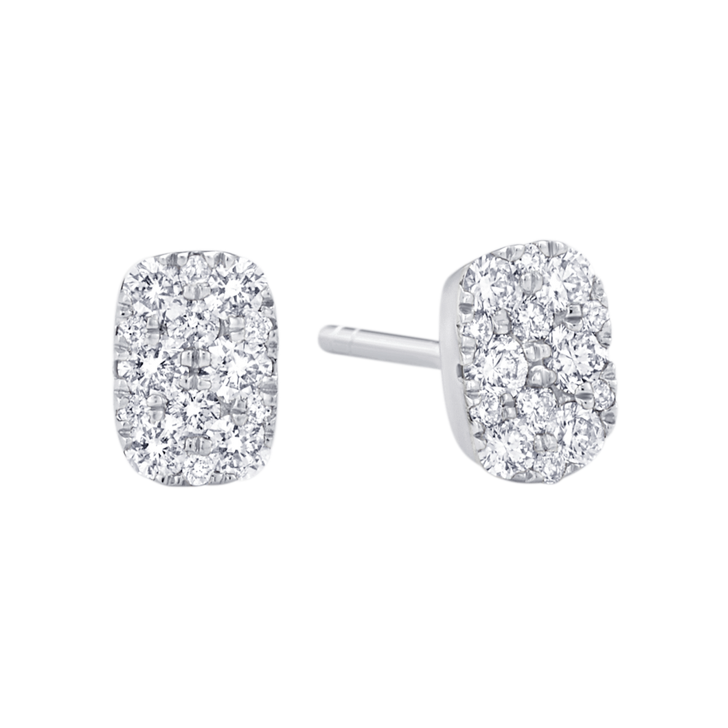 18K White Gold Reverie Cushion Cluster Studs