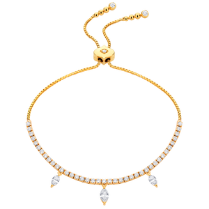 18K Yellow Gold Purity 3 Marquis Diamond Bolo Bracelet
