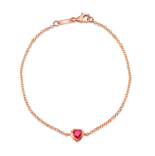 Load image into Gallery viewer, 18k rose gold ruby heart shaped chain bracelet.