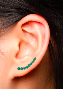 18K yellow gold emerald earring that 'floats' up the ear.