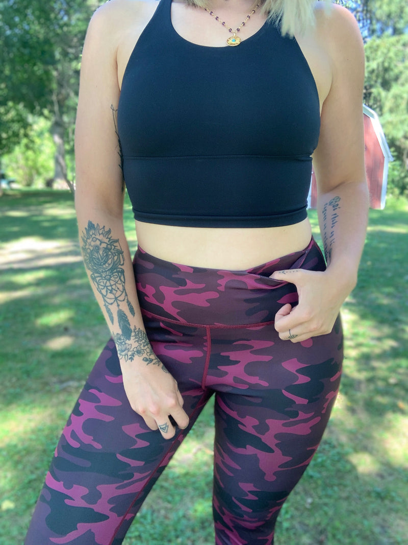 Dark Pink Camo High Rise Leggings