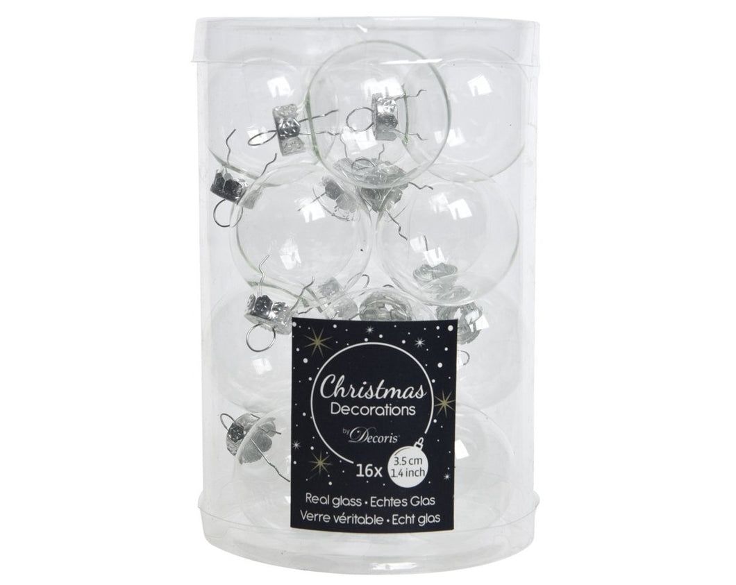 Glass Mini Baubles Clear 16's