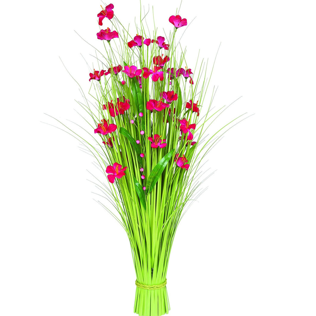 Grass Bundle with Pink Flowers 100 cm