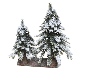 Snowy Mini Trees on Base
