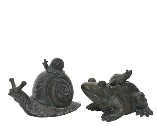 Poly Resin Snail or Frog Grey