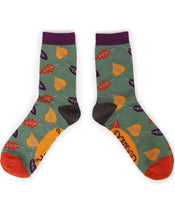 Load image into Gallery viewer, Ladies Ankle Socks - Autumn Leaves Moss