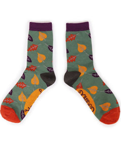 Ladies Ankle Socks - Autumn Leaves Moss