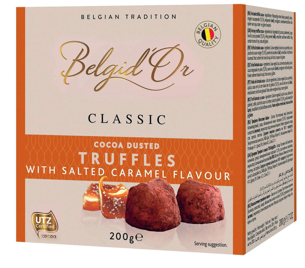 Belgian Cocoa Dusted Truffles with Salted Caramel Flavour 200g