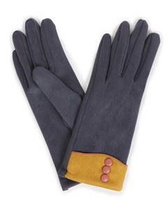 Cassie Faux Suede Gloves Charcoal