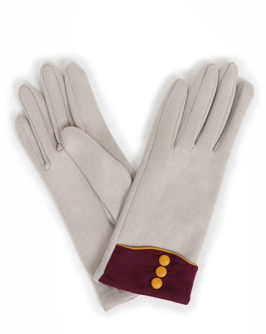 Cassie Faux Suede Gloves Pale Grey
